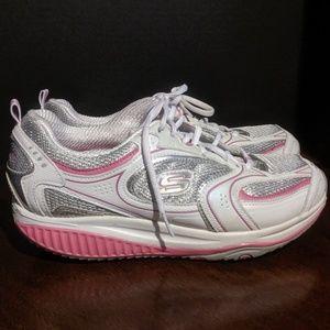 Skechers 12320 Shape-ups Pink & White Size 8.5